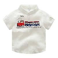 Рубашка на короткий рукав с поездом для малышей для мальчиков белого цвета, арт. - 38009 Акция! Последний размер:  140см