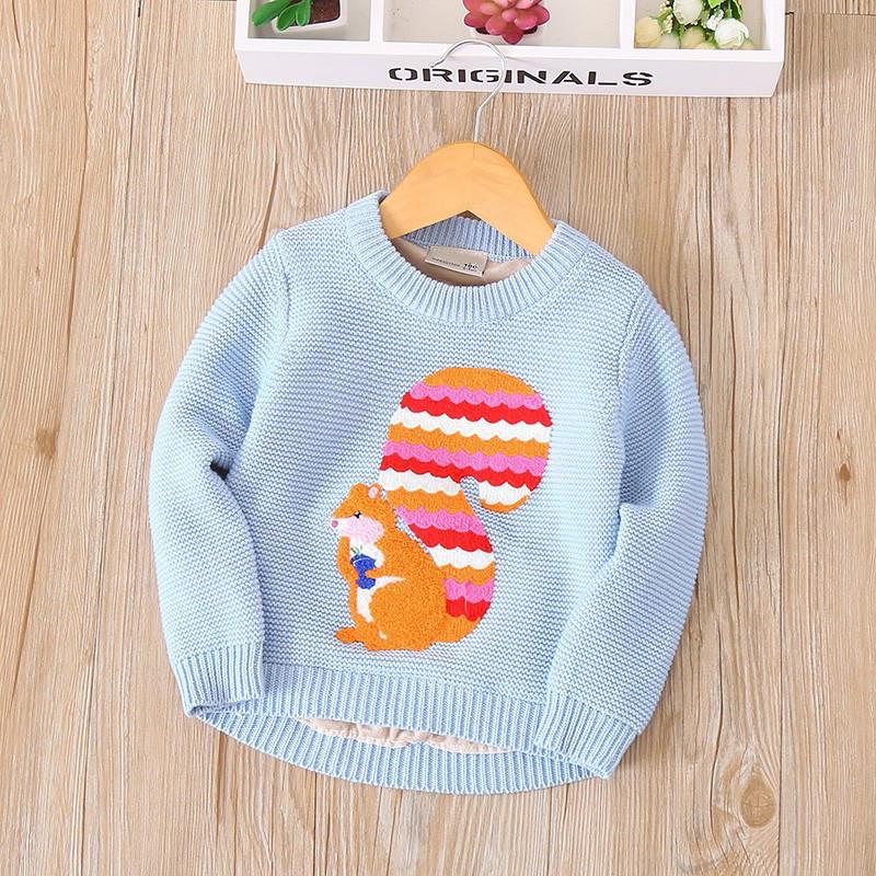 Утепленный детский свитер с белкой для девочки для девочек синего цвета, арт. - 38041 Акция! Последний размер:  130см