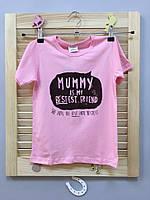 Стильная розовая футболка для девочки для девочек розового цвета, арт. - 38075 , Скидка -15% : 18M,2T,3T,5T,6T