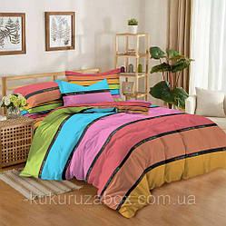 Евро комплект постельного белья «Веселый дом» 200х220 см из сатина