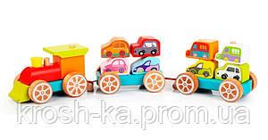 Деревянная игрушка Поезд с машинками Levenya Cubika Украина 13999