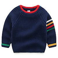 Теплый вязанный цветной свитер для мальчиков синего цвета, арт. - 39855 , Суперпредложение -22% : 110см,130см