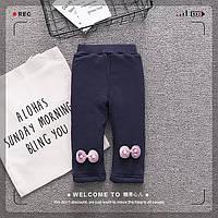 Утепленные брюки с плюшевой подкладкой для девочек синего цвета, арт. - 39761 Акция! Последний размер:  80см