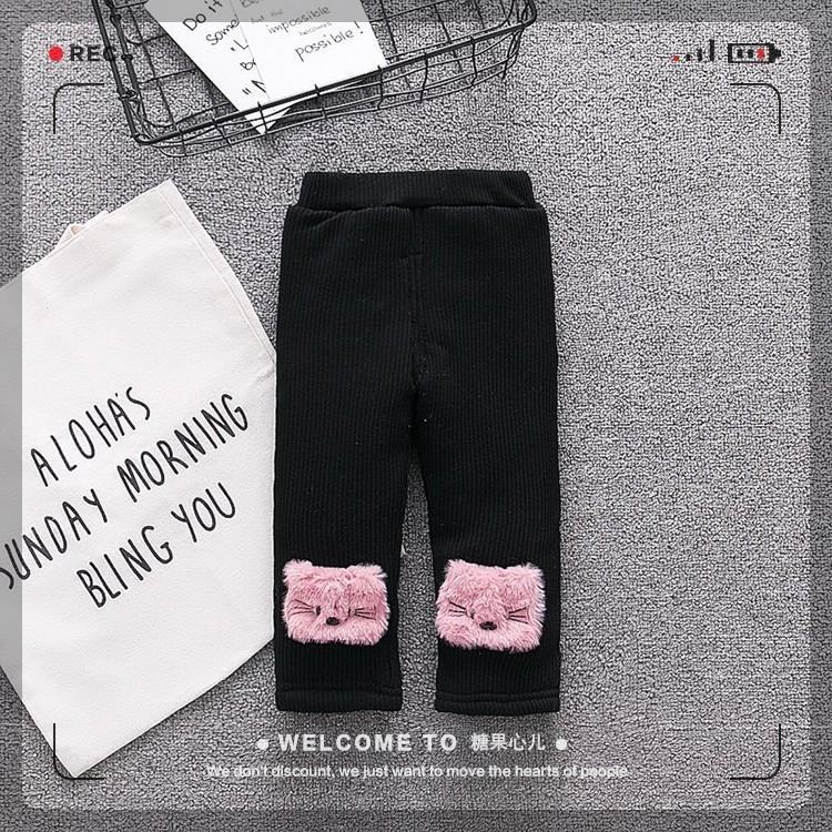 Утепленные брюки с плюшевой подкладкой для девочек чёрного цвета, арт. - 39796 , Total SALE -40% OFF : 74см,80см
