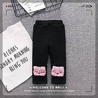 Утепленные брюки с плюшевой подкладкой для девочек чёрного цвета Акция! Последний размер:  74см