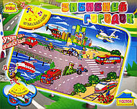 Музыкальный коврик Забавный городок, звуки транспорта, английский язык