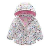 Детская теплая куртка Meanbear для девочек белого цвета, арт. - 40692 , Скидка -12% : 130см,140см,90см