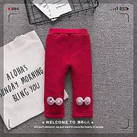 Утепленные брюки с плюшевой подкладкой для девочек красного цвета, арт. - 39763 Акция! Последний размер:  90см