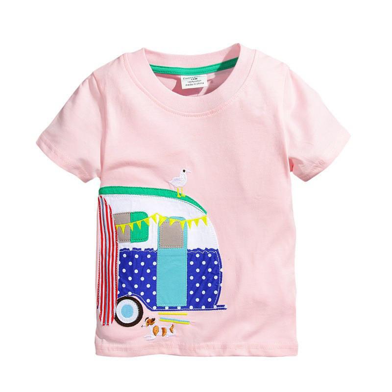 Детская футболка из чистого хлопка для девочек розового цвета, арт. - 38072 , Total SALE -40% OFF : 3T,5T,6T