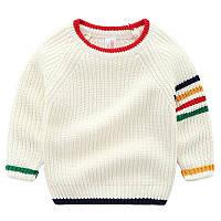Теплый вязанный цветной свитер для мальчиков Бежевого цвета, арт. - 39853 Акция! Последний размер:  110см