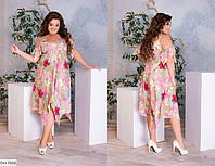 Ассиметричное летящее платье в цветок Размер: 48-50, 52-54, 56-58 арт 660