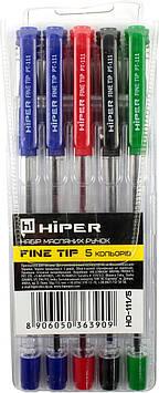 "Набір руч. кульк.""Hiper Fine Tipe"" №HO-111/5 5шт(синя,фіолетова,чорна,червона,зелена)(40)"