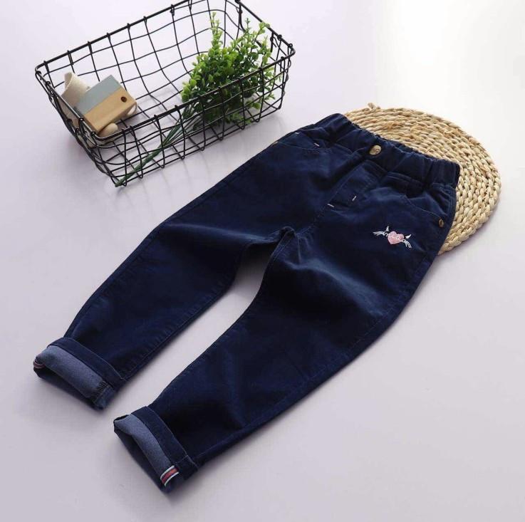 Легкие вельветовые джинсы для девочки для девочек темно-синего цвета SALE -50%: 130см,140см,150см