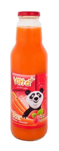 Сік Vitta Plus морква, полуниця (скло) 0,75 л