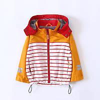 Детская полосатая куртка с капюшоном, высокое качество для мальчиков жёлтого цвета Акция! Последний размер: