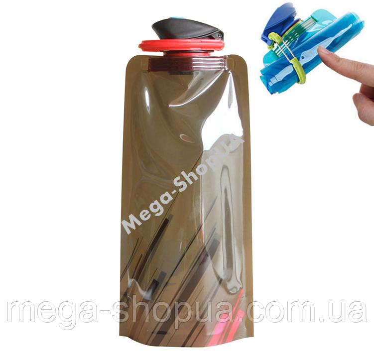 Складная бутылка для воды с карабином 550 мл Sport Bottle Brown