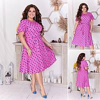 Летнее легкое платье в горошек по колено с поясом размеры:50, 52,54,56 .Летние платья женские 2020