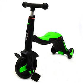 Самокат-беговел-велосипед 3в1 Best Scooter Салатовый со световыми и звуковыми эффектами (JT 40405)