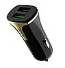 Автомобильное зарядное устройство Hoco Z31 QC3.0 2USB 3.4A| черное + золото
