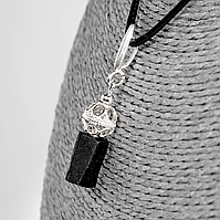 Кулон с шерлом черным турмалином, серебро, 12*8 мм., 1360КЛШ