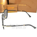 Чоловічі сонцезахисні окуляри Gucci Polarized Авіатори з поляризацією для водіїв Поляризаційні Гуччі копія, фото 3