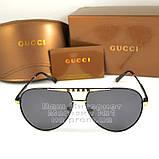 Чоловічі сонцезахисні окуляри Gucci Polarized Авіатори з поляризацією для водіїв Поляризаційні Гуччі копія, фото 6