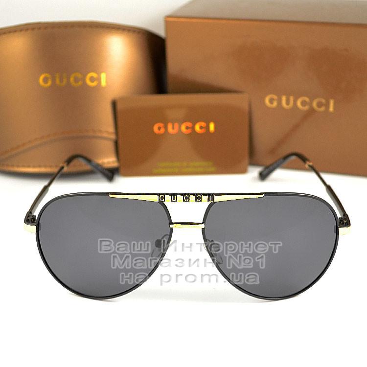 Чоловічі сонцезахисні окуляри Gucci Polarized Авіатори з поляризацією для водіїв Поляризаційні Гуччі копія