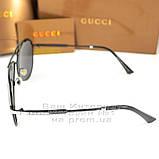 Мужские солнцезащитные очки Gucci Polarized Авиаторы с поляризацией для водителей Поляризационные Гуччи копия, фото 3