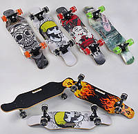 Скейт, 6 6 видов, колеса свет-ся PU d 6 см, 6 сл. канад.клена, подшипн.ABEC-9, дека, цена за 1 шт SKL11-250282