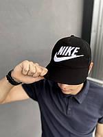 Бейсболка Кепка Найк стильная летняя сзади сетка черная лого вышивка