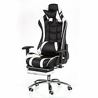 Кресло игровое Special4You ExtremeRace black/white with footrest (000002300)