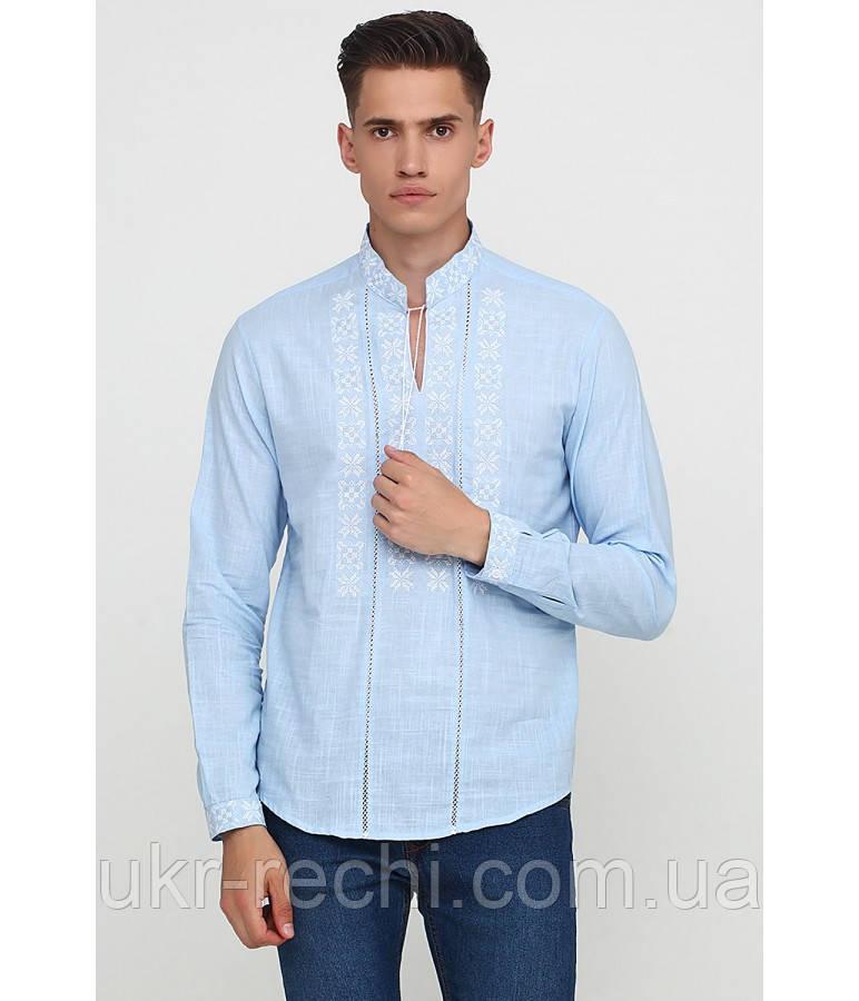 Сорочка вишита хрестиком та оздоблена мережкою, світло-голубий колір, біла вишивка