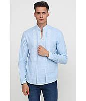 Сорочка вишита хрестиком та оздоблена мережкою, світло-голубий колір, біла вишивка, фото 1