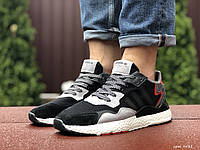 Кросівки чоловічі Adidas Nite Jogger Boost 3M, чорно білі, демісезонні, сітка, замша