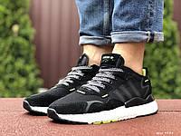 Кроссовки мужские Adidas Nite Jogger Boost 3M, черно белые с салатовым, фото 1