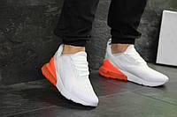 Кроссовки мужские Nike Air Max 270, белые с оранжевым