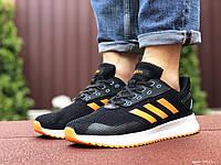 Кроссовки мужские черно белые \ оранжевые в стиле Adidas, фото 1