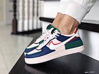 Кроссовки женские Nike Air Force, персиковые с синим, фото 1