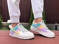 Кроссовки женские Nike Air Force 1 Shadow, бежевые с мятой \ фиолетовые
