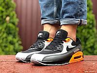 Кроссовки мужские Nike Air Max 90, черные с серым \ оранжевые, демисезонные, фото 1