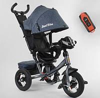 Детский велосипед трехколесный  для мальчика BestTrike7700В/73-019 серый пульт фара звуки 360 градусов сиденье