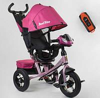 Детский велосипед трехколесный  для девочки BestTrike 700В73019 розовый пульт фара звуки 360 градусов сиденье