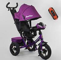 Детский велосипед трехколесный  для девочки BestTrike фиолеьовый, пульт фара звуки 360 градусов сиденье
