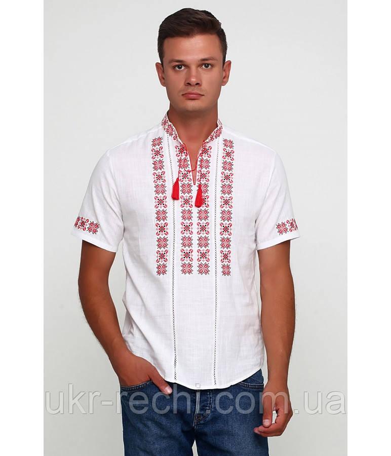 Сорочка вишита хрестиком та оздоблена мережкою, білий колір, короткий рукав
