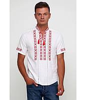 Сорочка вишита хрестиком та оздоблена мережкою, білий колір, короткий рукав, фото 1