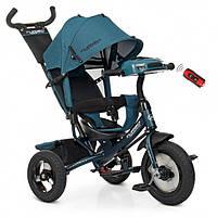 Детский велосипед трехколесный для мальчика TURВOТRIKЕ M3115HA21L бирюзовый музыка фары сиденье 360 градусов