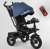 Детский велосипед трехколесный  для мальчика BestTrike 6088F04997 синий пульт фара звуки 360 градусов сиденье