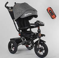 Детский велосипед трехколесный  для мальчика BestTrike 6088F05359 серый пульт фара звуки 360 градусов сиденье