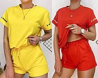 Женский короткий спортивный костюм желтый красный футболка шорты двунить с принтом 42-44 46-48