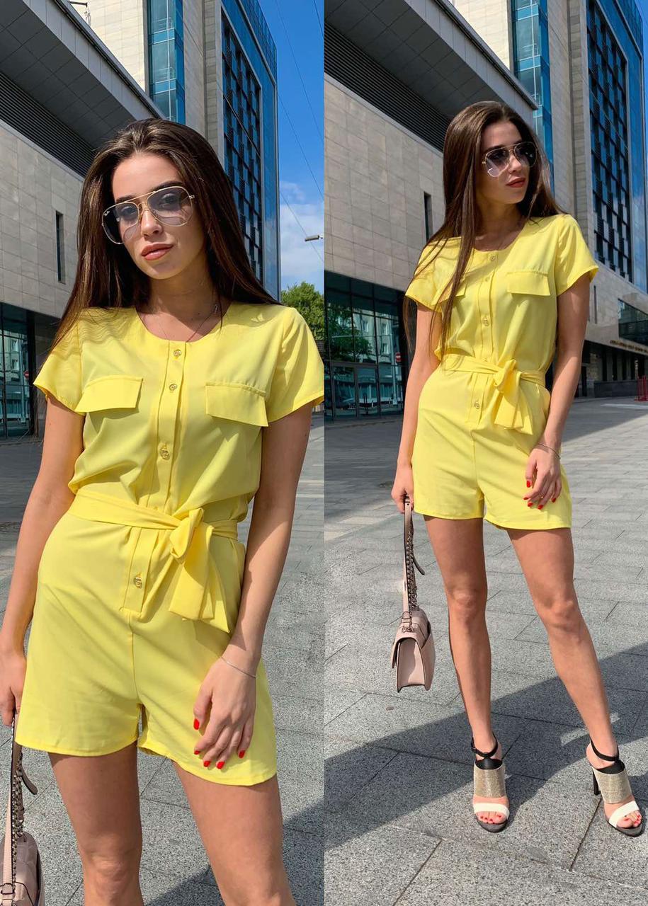 Летний комбинезон шортами, 42-44 желтый
